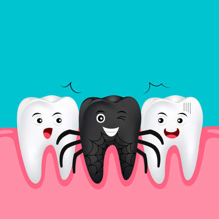 Cute cartoon tooth character. Black spider, happy Halloween concept. Illustration isolated on blue background. Standard-Bild - 112157504