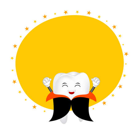 Cute cartoon tooth character. Dracula, happy Halloween concept with circle frame. Illustration isolated on white background.