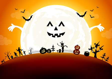 Halloween background design with moon. This illustration can be used as a greeting card, poster banner or print.