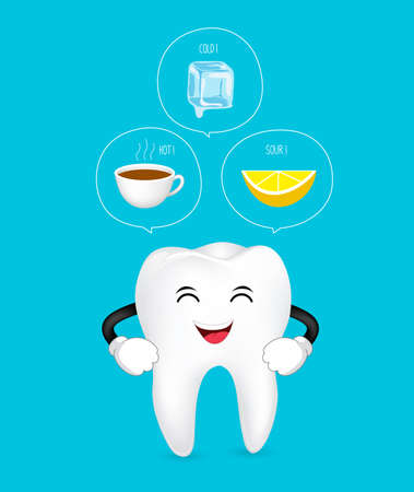 Healthy tooth to cold, sour and hot. Cute cartoon tooth character. Dental care concept, info-graphic of lemon, ice and hot drink.  Illustration isolated on blue background. Illustration