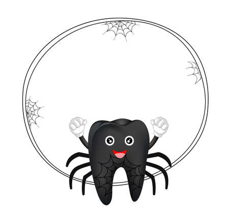 Cute cartoon tooth character. Black spider, happy Halloween concept with circle frame. Illustration isolated on white background.