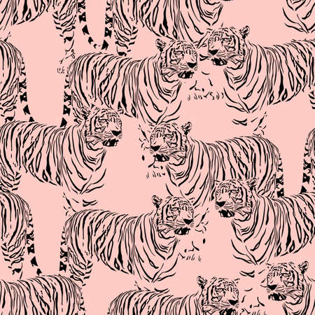 Abstract Tiger seamless pattern. Wild life animals. Black and pink texture background. Illustration.