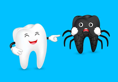 Tooth character with black tooth. Black spider, funny illustration. Dental care concept. Illustration isolated on  blue background.
