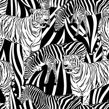Tiger and zebra seamless pattern. Wild life animals. Black and white texture. Illustration Фото со стока - 112048598
