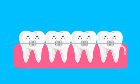 Teeth with braces icon design. Orthodontic braces flat icon for web and mobile, modern minimalistic flat design. Vector illustration isolated on blue background.