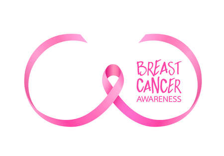 Pink ribbon curve in breast shape. Breast Cancer Awareness Month Campaign. Icon design. Vector illustration isolated on white background. Illustration