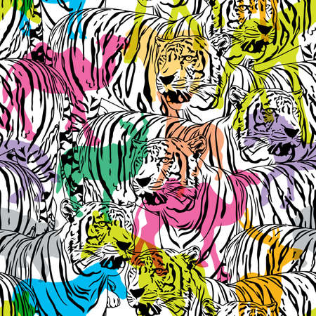 Tiger with colorful silhouette wildlife animals, seamless pattern. Wild animal design trendy fabric texture, illustration. Illustration