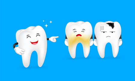cute tooth character expression set, great for your design. Dental care concept. Illustration isolated on blue background. Illustration