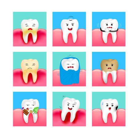 Set of cute cartoon tooth emoticons with different facial expressions. Dental care concept. Illustration in frame isolated on white background. Illustration