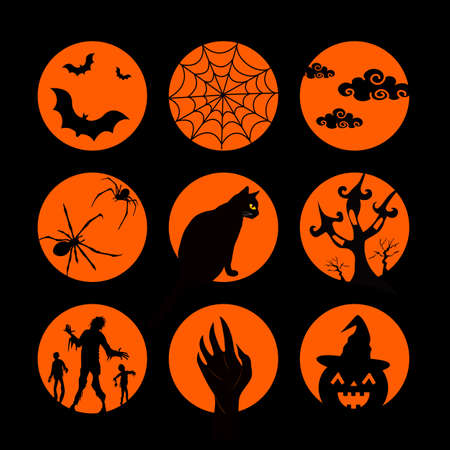 Set of Halloween characters on orange circles.  Silhouettes style. Vector illustration. Black Cat, bat, spider and web, pumpkin, cloud.