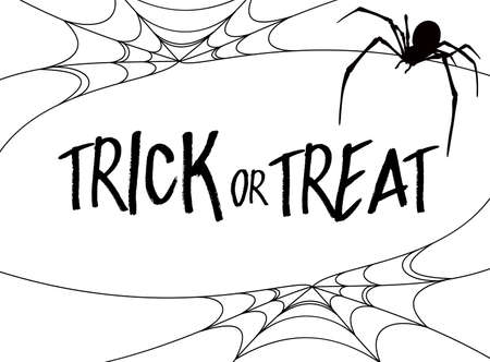 Trick or Treat lettering design. Holiday calligraphy with Trick or treat text with spider web.Vector illustration isolated on white  background. Happy Halloween concept. For poster, banner, greeting card, invitation.