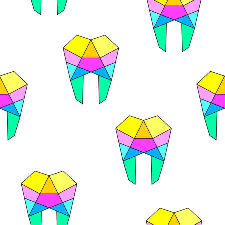 Colorful  human tooth line art, seamless pattern design. Dental care concept. Vector illustration isolated on white background. Illustration