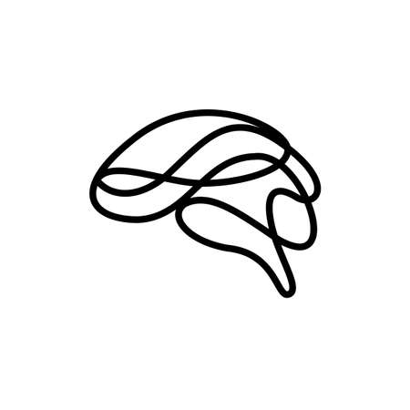 Abstract brain made of line art as creative idea symbol. Icon design, vector illustration isolated on white background. Illusztráció