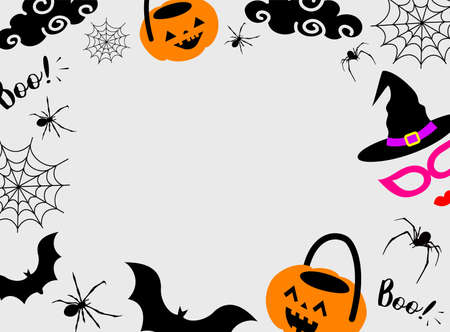 Halloween background design with spiders, bat, cobweb, pumpkin, mask. Silhouettes style. Vector illustration.