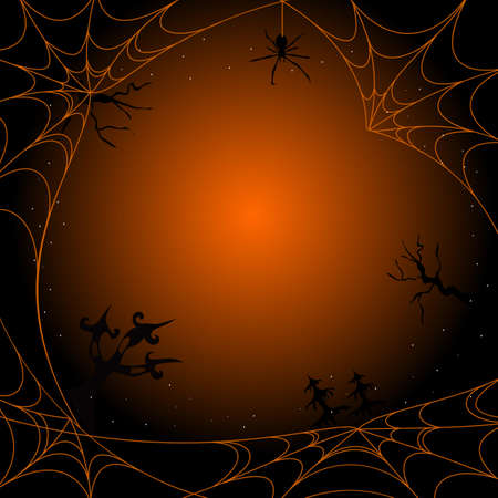 Dark Halloween magic background design with cobweb. This illustration can be used as a greeting card, poster banner or print. Illustration