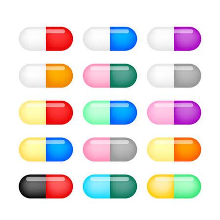 Cápsulas de colores. Ilustración de vector. Conjunto de cápsulas de píldoras en diferentes colores aislado sobre fondo blanco.