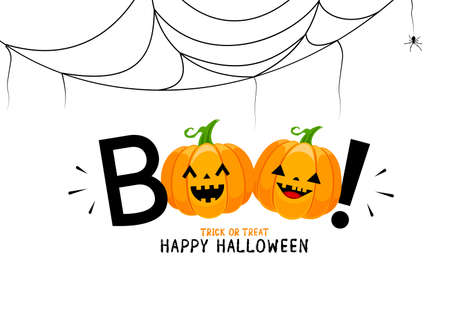 Boo! lettering design with smiling pumpkin character. Trick or Treat, Happy Halloween day. Vector design for greeting card, print, invitation, banner, poster.  Illustration isolated on white background.