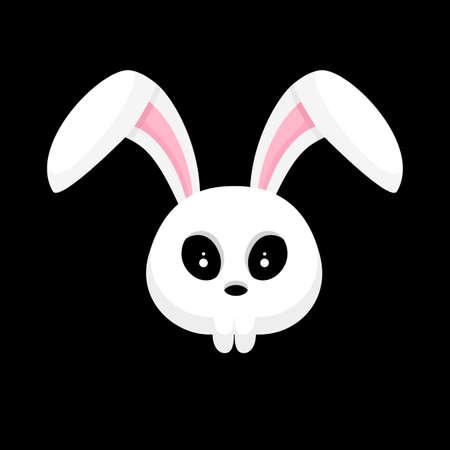Skull rabbit cartoon. Hallowleen concept design. Vector illustration isolated on black background. Vektorové ilustrace