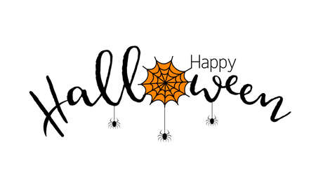 Happy Halloween lettering design. Holiday calligraphy with spider and web. Illustration isolated on white background. For poster, banner, greeting card, invitation.