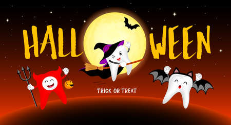 Funny cute cartoon tooth character. witch, bat and devil in moon night. Happy Halloween concept. Design for banner, poster, greeting card. Illustration. Illustration