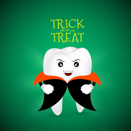 Cute scary tooth character design of Dracula. Happy  Halloween concept. Illustration for your poster, banner, greeting card and party invitation.