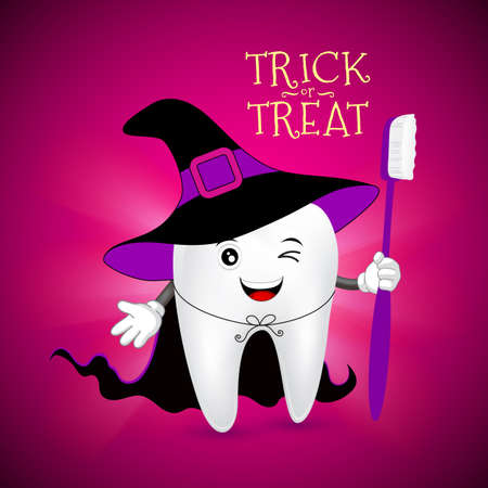 Cute scary tooth character design of Witch. Happy  Halloween concept. Illustration for your poster, banner, greeting card and party invitation. Illustration