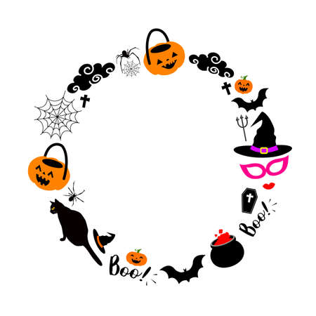 Halloween elements in circle shape. Illustration isolated on white background. For poster, banner, greeting card, invitation.