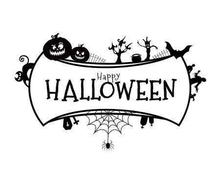 Happy Halloween lettering with Halloween element design. Vector illustration isolated on white background.