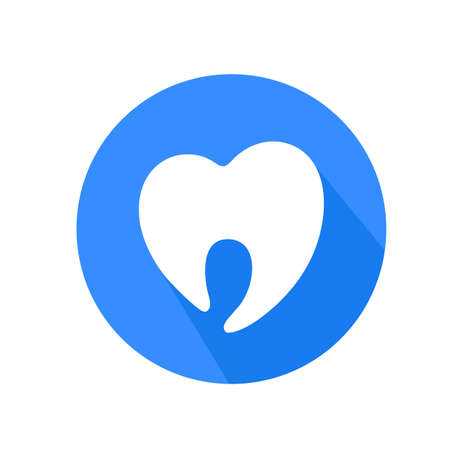 Circle of tooth, icon design in flat style. Dental care concept. Vector illustration isolated on white background.  For mobile user interface. Illustration