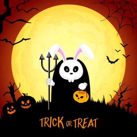 Skull rabbit cartoon in moon night background. Halloween concept design. Illustration for banner, poster, greeting card. Illustration