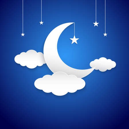 White half moon, clouds and stars in the night as paper art and craft style concept. Illustration on blue background.