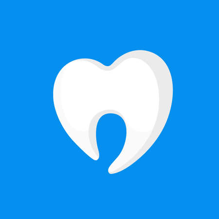 Tooth icon design, flat style. Vector illustration isolated on blue background. For mobile user interface.