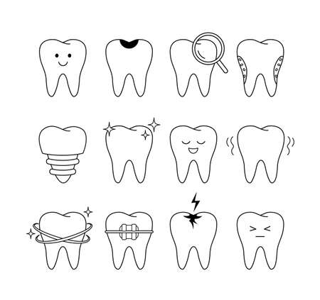 Tooth icons set. outline style. different facial expressions. Dental care concept. Vector illustration isolated on white background.