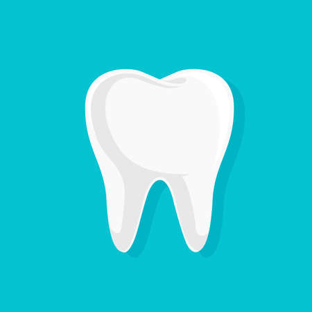 Single white and healthy tooth. Dental care concept. Icon design. Vector illustration isolated on blue background. Illustration