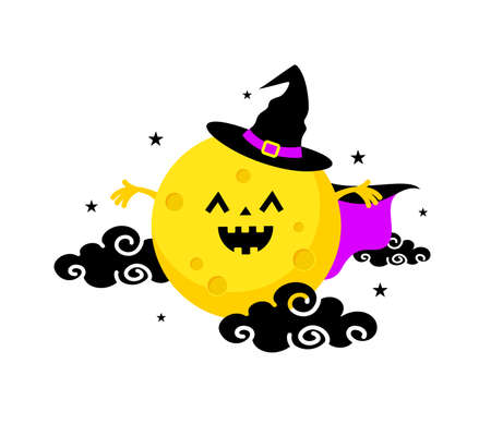 Cute cartoon character moon wearing a witch suit. Happy Halloween concept. Illustration isolated on white background. For poster, banner, greeting card, invitation. Illustration