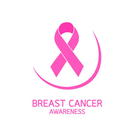 Pink ribbon symbol with curve of breast. Breast Cancer Awareness Month Campaign. Icon design. Vector illustration isolated on white background. Illustration