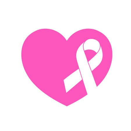 Riibbon symbol with pink heart. Breast Cancer Awareness Month Campaign. Icon design. Vector illustration isolated on white background. Illustration