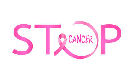 Stop cancer lettering design with pink ribbon. Breast Cancer Awareness Month Campaign. For poster, banner and t-shirt. Vector Illustration isolated on white background.