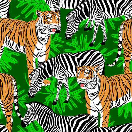 Tiger and zebra seamless pattern with leave. Wild animals background texture. Illustration.