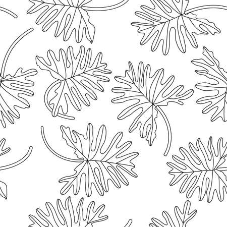 Tropical leave seamless pattern. Hand drawn doodle vector illustration.