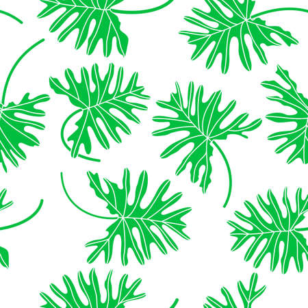 Tropical green leave seamless pattern. vector illustration isolated on white background. Illustration