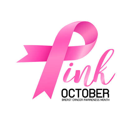 Breast Cancer Awareness Month Campaign design with pink ribbon. Icon design. Vector illustration isolated on white background.
