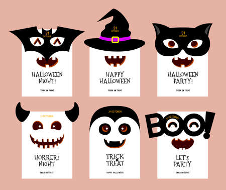 Funny cartoon Halloween character design card. Bat, witch, black cat, monster, Dracula. Happy Halloween concept. Vector Illustration. Illustration