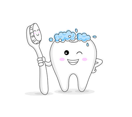 cute cartoon tooth character holding toothbrush. Dental care concept. Vector illustration isolated on white background.