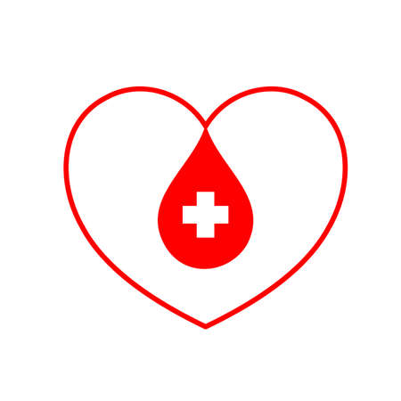 Red blood in heart shape. healthcare, medicine and blood donation concept. Icon design. Vector illustration isolated on white background.