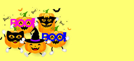 Set of cute cartoon pumpkin character design. Happy Halloween day concept with mask of black cat, bat, boo! and witch. Illustration isolated on yellow background. Illustration