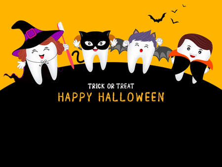 Family cute cartoon tooth character as witch, Dracula, black cat and bat in moon night, happy Halloween concept. Design for banner, poster, greeting card. Illustration. Illustration
