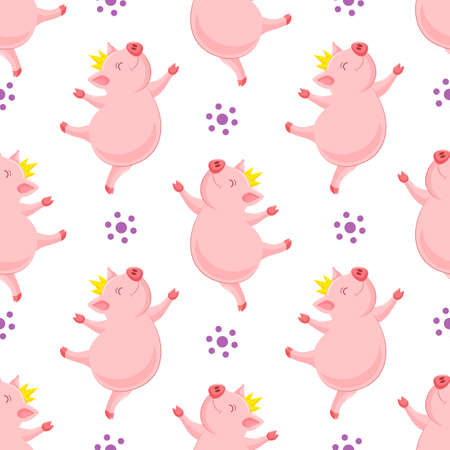 funny cartoon pig with crown dancing. Character design seamless pattern. Vector illustration isolated on white background.