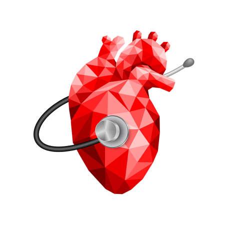 stethoscope on human heart. World heart day, icon design. Illustration isolated on white background.