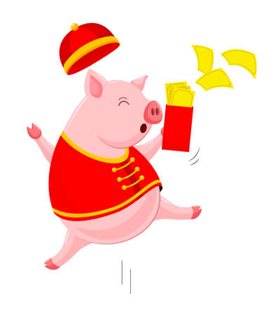 Funny cartoon pig characters wearing traditional Chinese costume. Happy Chinese New Year concept. Happiness piggy jumping. Illustration isolated on white background. Illustration